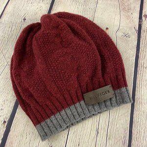 Tommy Hilfiger Women's Red Gray Beanie Winter Hat